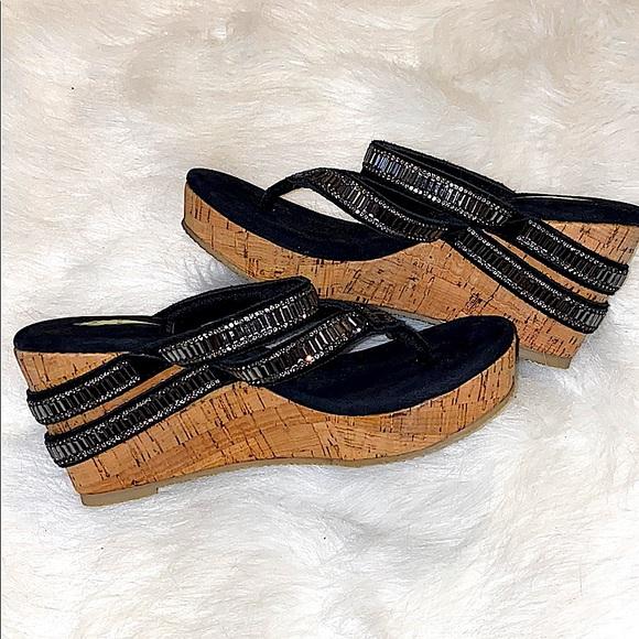 VOLATILE Leather/Cork Baguette Embellished Sandals